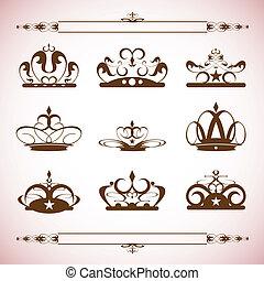 侧面影象, 矢量, 放置, 在中, 王冠, 003