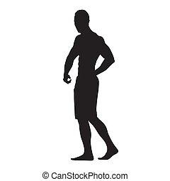 侧面影象, 肌肉, 大, 隔离, 矢量, 健身, 人