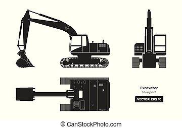 侧面影象, excavator, 形象, 柴油机, 水力, 边, 背景。, 顶端, 黑色, 机械, 前面, 观点。, 挖掘者, 白色, blueprint.