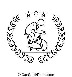 侧面影象, pictogram, 离开, 王冠, 旋转, 自行车, 人