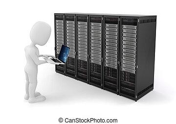 便携式的计算机, 3d, 人, 服务器