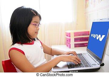 便携式计算机, 亚洲人, 桌子, 女孩, 玩