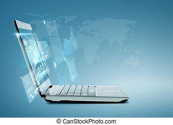 便携式计算机, 带, 图表, 同时,, 图表, 在上, 屏幕