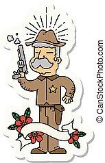 保安官, アメリカ西部地方, スタイル, 入れ墨, ステッカー