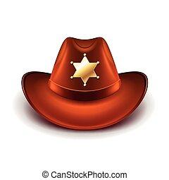 保安官, カウボーイ, バッジ, 隔離された, ベクトル, 帽子