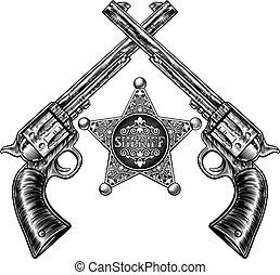 保安官, 交差させる, 星, ピストル, バッジ