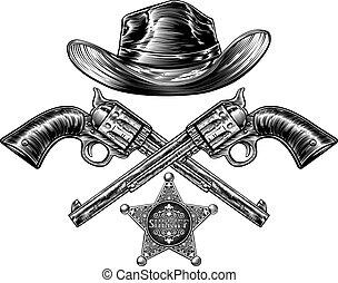 保安官, 星, 交差させる, カウボーイ帽子, ピストル