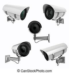 保安用カメラ, 白い背景, 3d