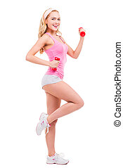 保持, 她, 身體, fit., 全長, ......的, 美麗, 別針, 金髮, 婦女, 在, 粉紅的襯衣, 行使,...
