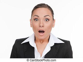 保持, 彼の, 女性実業家, businesswoman., 若い, 衝撃を与えられた, 隔離された, 見る, 間, ...