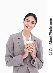 保有物のコップ, 微笑, ペーパー, 女性実業家