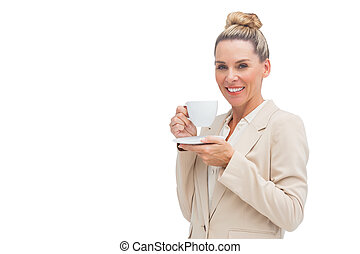保有物のコップ, 微笑, 女性実業家