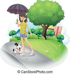 保有物の傘, 前方へ, 道, 犬, 女性
