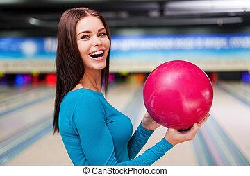保有物の 球, に対して, 細道, ball., 私, 若い女性たち, ボウリング, 地位, 幸運, 美しい, 間