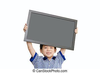 保有物, わずかしか, 背景, 白, 上に, 空, 男の子, 黒板, アジア人