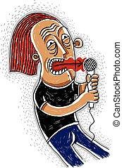 保有物, カラフルである, 歌手, 図画, hand-drawn, concept., microphone., 実行者, 音楽家, illustration., ポンとはじけなさい