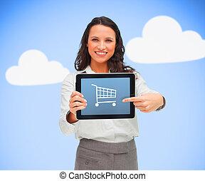 保有物, タブレット, に対して, app, シンボル, 買い物, 青, 女性実業家, 背景, コンピュータ, 提示, ...