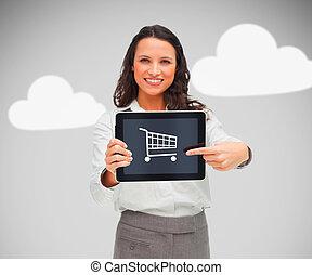 保有物, タブレット, シンボル, 買い物, 女性実業家, pc