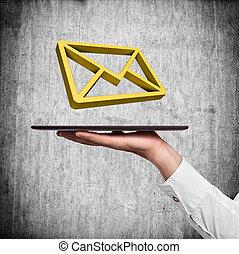 保有物, タブレット, 手, 電子メール