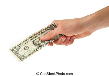 保有物, ドル, 若い, 1人の男, 彼の, 手