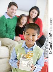 保有物, プレゼント, 姉妹, 若い, 背景, 男の子, クリスマス, 地位, 彼の, 親