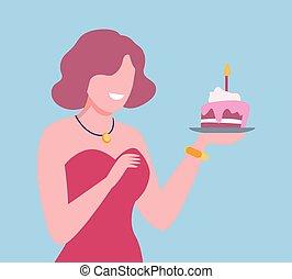 保有物, ベクトル, イラスト, 若い女性, 分離, ろうそく, ∥あるいは∥, distancing, 自己, cupcake, 女の子, birthday, 祝う, 社会