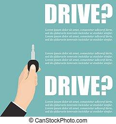 保有物, ポスター, ドライブしなさい, 手, 車。, キー, ビジネスマン
