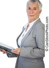 保有物, メモ用紙, 深刻, 女性実業家
