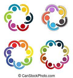 保有物, 人々, シンボル, logo., チームワーク, hands., persons., グループ