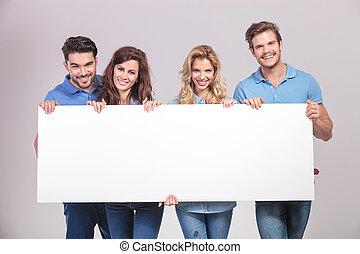 保有物, 人々, 板, 偶然, 若い, グループ, ブランク, 大きい