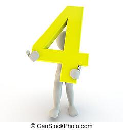 保有物, 人々, 特徴, 数, 黄色, 4, 人間, 小さい, 3d