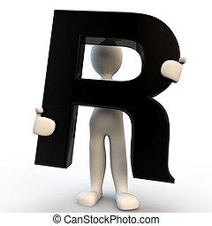 保有物, 人々, 特徴, r, 黒, 人間, 小さい, 手紙, 3d