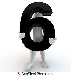 保有物, 人々, 6, 特徴, 数, 黒, 人間, 小さい, 3d