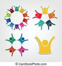 保有物, 人々, circle., チームワーク, ロゴ, グループ, 人