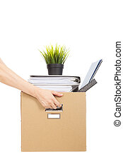 保有物, 仕事, 失いなさい, concept., 簀の目紙, 従業員, 箱, 手