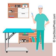 保有物, 保護, 医学, マレ, 概念, スポイト, 医者, オフィス, 漫画, needle., 健康