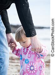 保有物, 女の子, 彼女, 赤ん坊, 父, 手