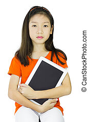 保有物, 女の子, 若い, タブレット, アジア人