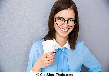 保有物, 女性実業家, カップ, 微笑, コーヒー