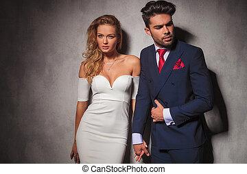 保有物, 彼女, 恋人, ファッション, 優雅である, 人, 彼の, macho, 手