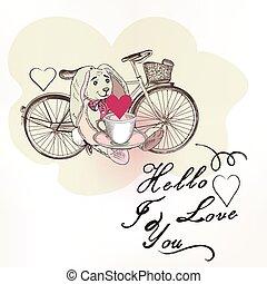 保有物, 愛, かなり, 招待, tshirt, カード, こんにちは, かわいい, 結婚式, 自転車, カップ, ノウサギ, ベクトル, 挨拶, プリント, デザイン, あなた, 理想