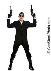 保有物, 男性, 黒いスーツ, 銃