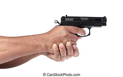 保有物, 白, 銃, 背景, 手