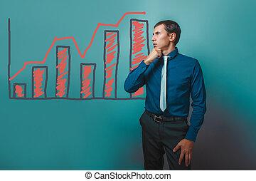 保有物, 考え, ビジネスマン, 成長, 離れて, 人, 彼の, 見る, あご
