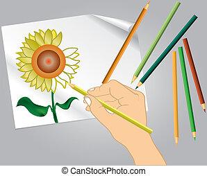 保有物, 色, 図画, 手, s, 鉛筆