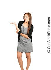 保有物, 表示, 手, アジアの女性, 服, から