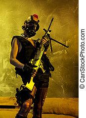 保有物, 襲撃, 女, ライフル銃, 若い, 軍隊