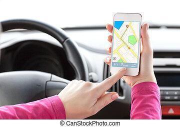 保有物, 運転手, インターフェイス, 電話, 女性, ナビゲータ, スクリーン, 手