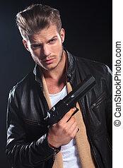 保有物, 革, hitman, 大きい, 銃, 彼の, 手, 衣服