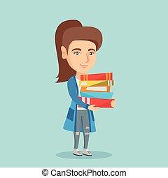 保有物, books., 若い, 山, 学生, コーカサス人